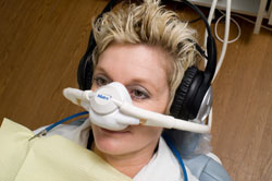 Patient getting nitrous oxide and listening to Sirius|XM during treatment