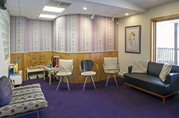 Fred S. Maron's dental office waiting room with its contemporary furnishings